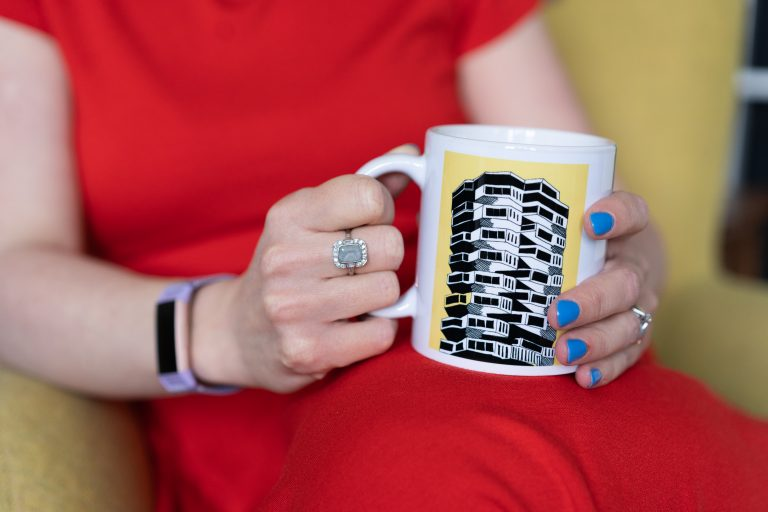 product photography of print on mug
