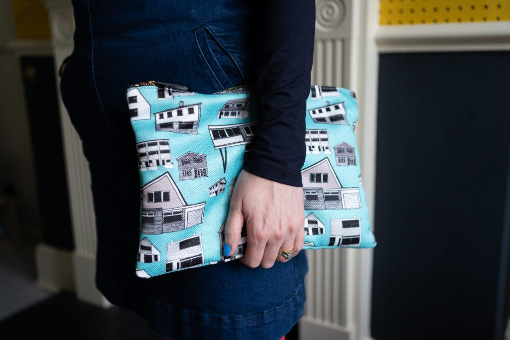 clutch bag made out of Kate Marsden's fabric