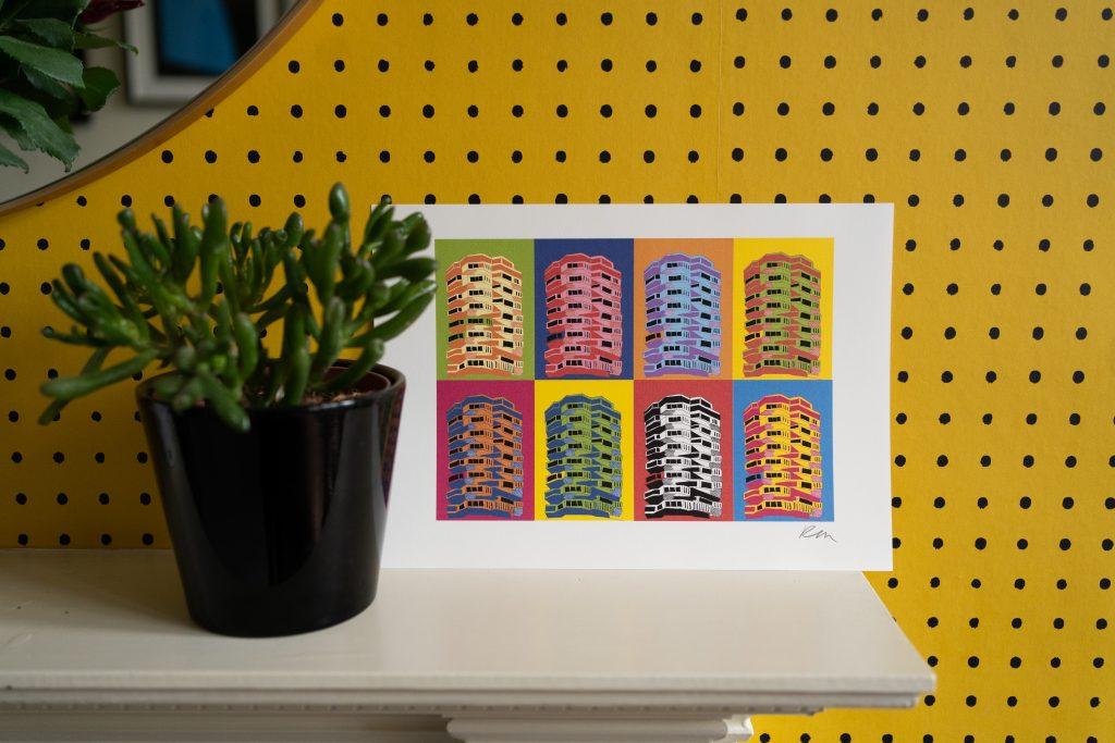 Kate Marsden's print against yellow wallpaper