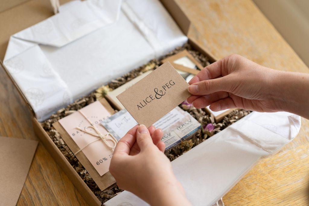 lifestyle product photography London of ethical gift box Alice & Peg