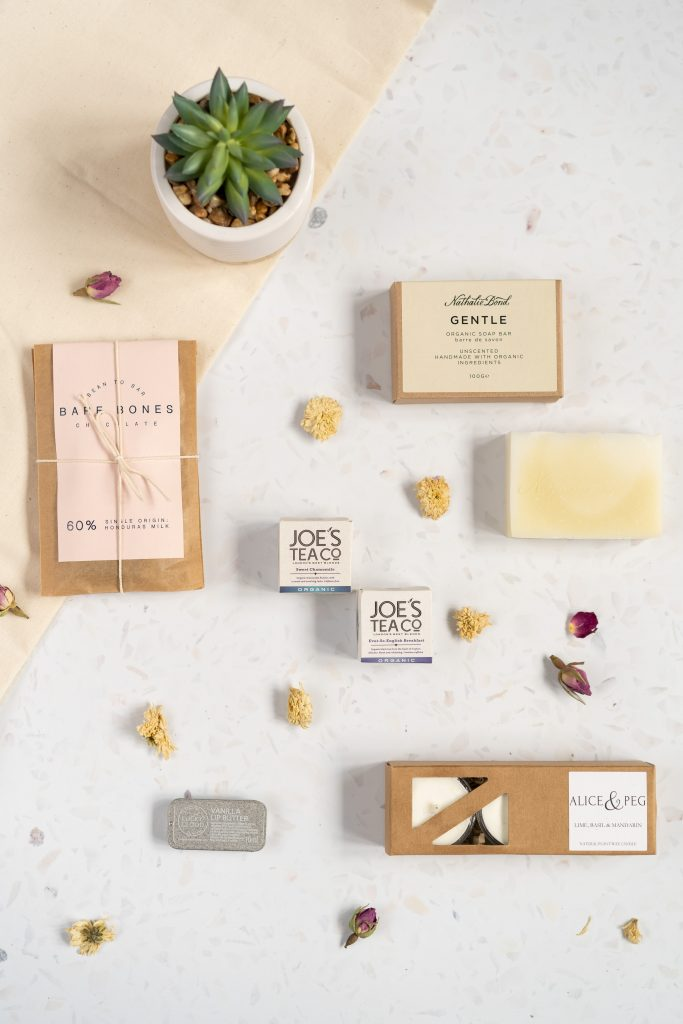 London product photography flat lay of beauty brand