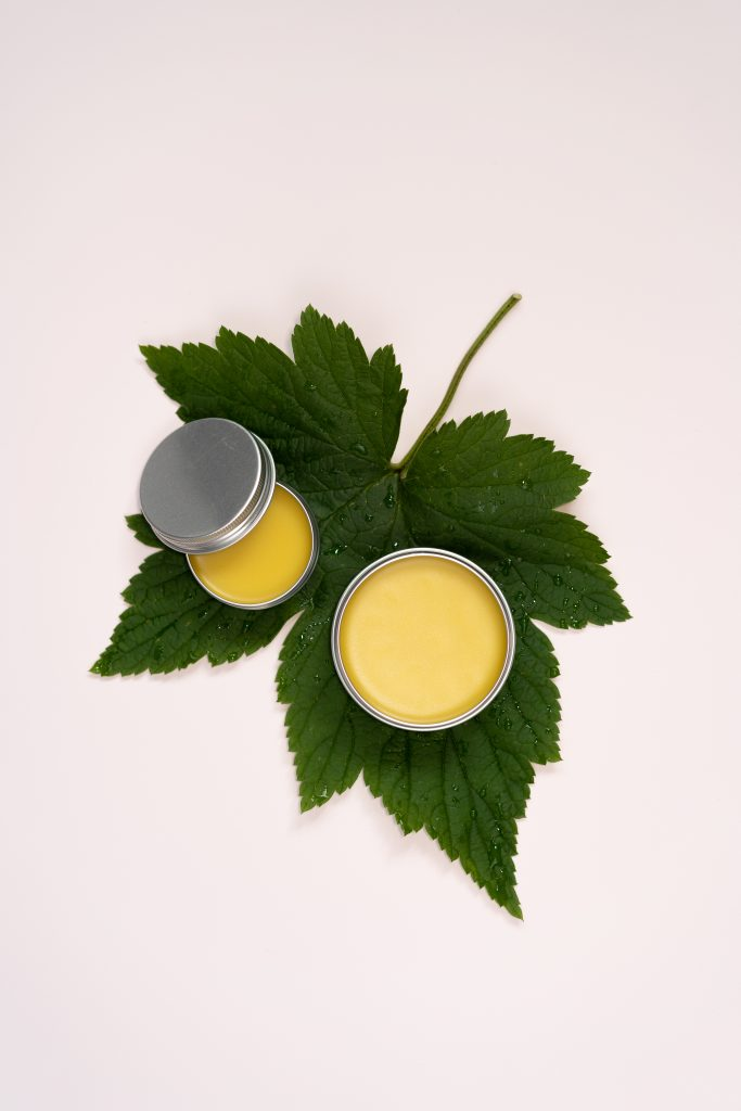 lifestyle product photography of nettle salve balm