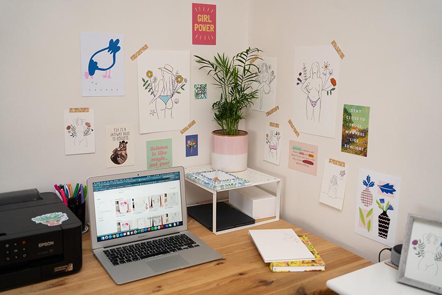 workspace of London illustrator