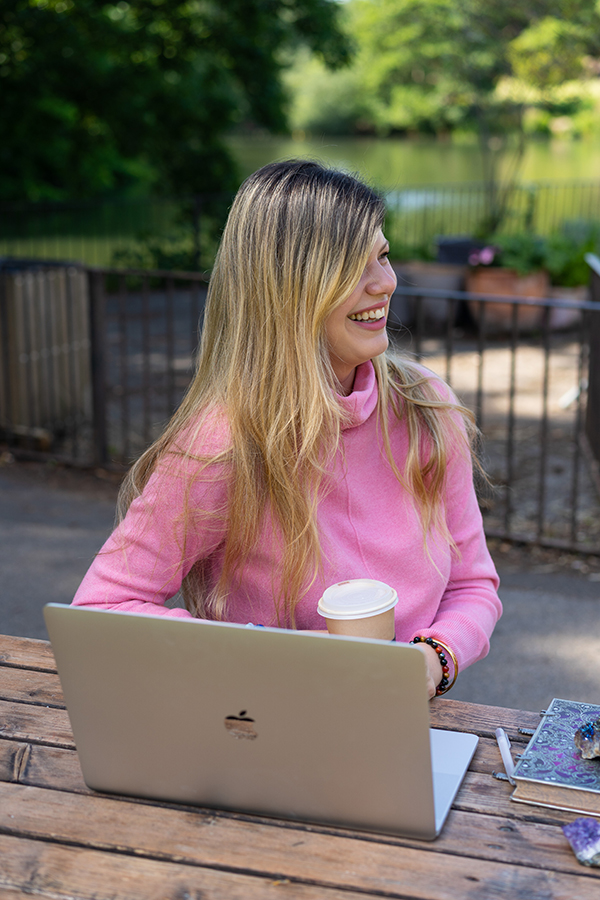 woman enjoying a coffee in the park