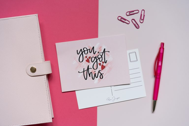 lifestyle product photography flat lay of pink stationery product photography