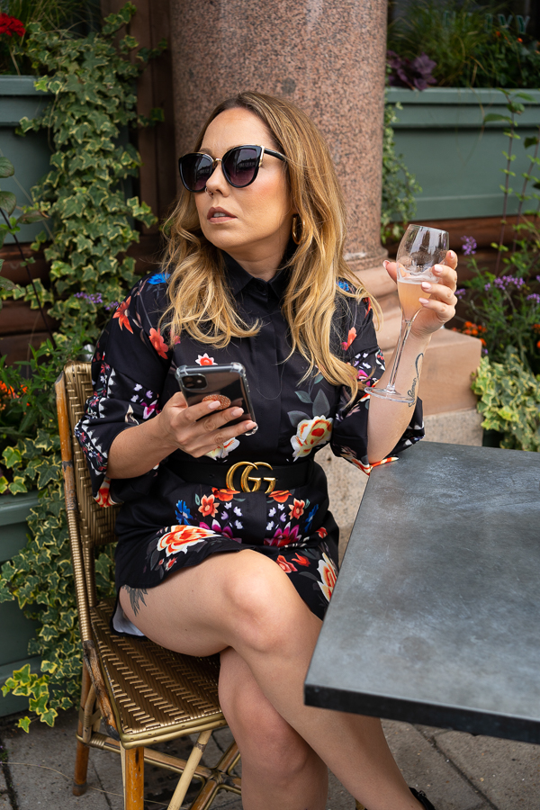 online fashion brand owner enjoying a drink at The Ivy Wimbledon